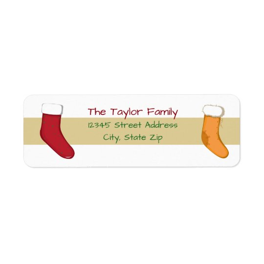 Tan Stripes Stocking - Address Label
