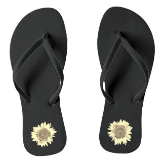 Tan Sunflower on Black Flip Flops