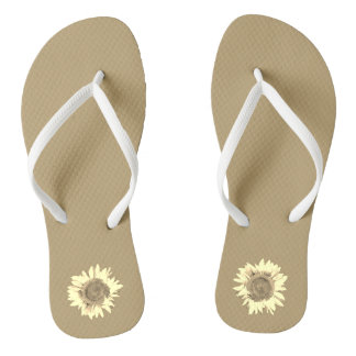 Tan Sunflower on Flip Flops