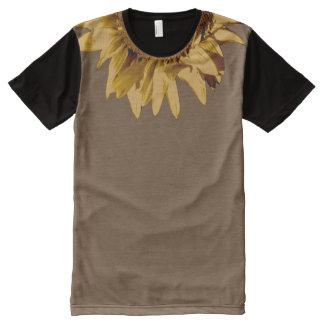 Tan Sunflower on Plain Tan/Black All-Over-Print T-Shirt