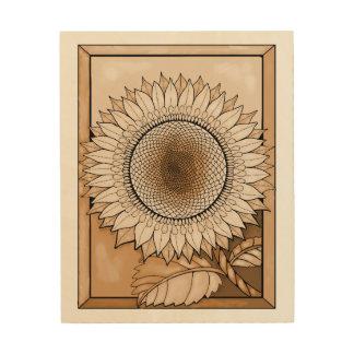 Tan Sunflower Wood Print
