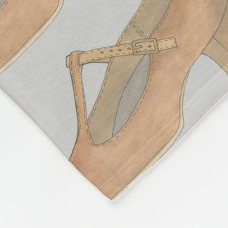 Tan T-Strap Musical Theatre Character Shoe Dance Fleece Blanket