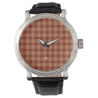 Tan Tartan Black Leather Strap Watch