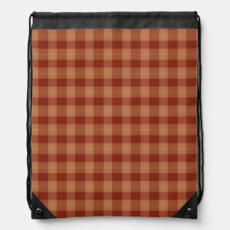 Tan Tartan Drawstring Backpack