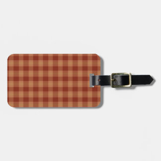Tan Tartan Luggage Tag w/ leather strap