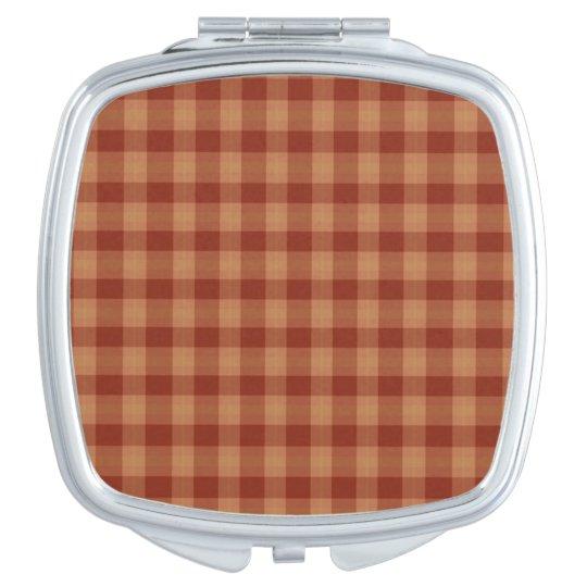 Tan Tartan Square Compact Mirror