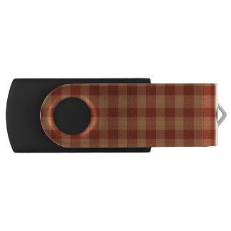 Tan Tartan USB Flash Drive Swivel USB 2.0 Flash Drive