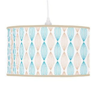 Tan & Teal Wavy Lines Pattern Pendant Lamp