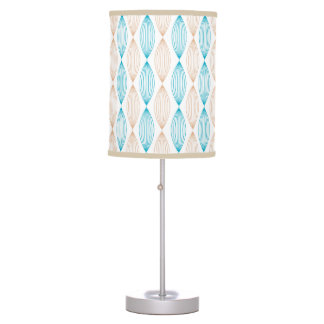 Tan & Teal Wavy Lines Pattern Table Lamp