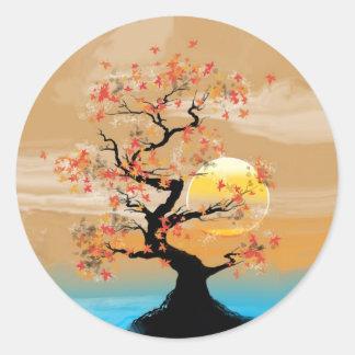 Tan Tree Scenery Lake Sunset Stickers