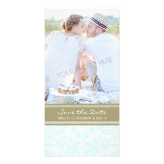 Tan Turquoise Save the Date Wedding Photo Cards