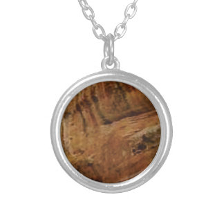 tan vertical sandstone lines silver plated necklace