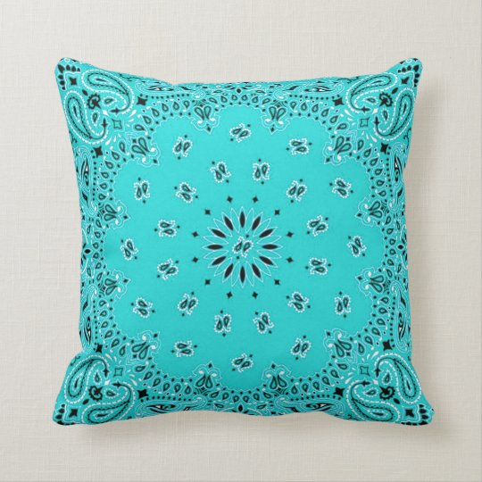 Tan w/ Turquoise Back Western Bandana Scarf Fabric Throw Pillow