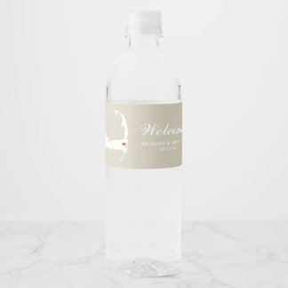Tan Wequassett Cape Cod Map with red heart Wedding Water Bottle Label