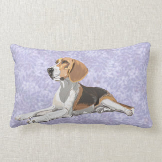 Tan White & Black Beagle with blue floral Backdrop Lumbar Pillow