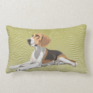 Tan White & Black Beagle with green fern Backdrop Lumbar Pillow