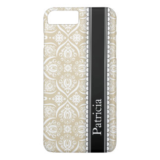 Tan White Damask Pattern Personalized Name iPhone 7 Plus Case