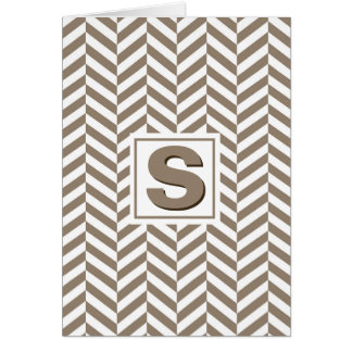 Tan White Herringbone Monogram Card