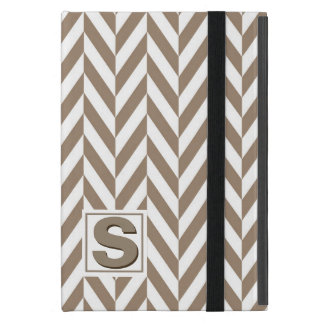 Tan White Herringbone Monogram Case For iPad Mini