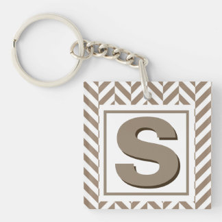 Tan White Herringbone Monogram Keychain