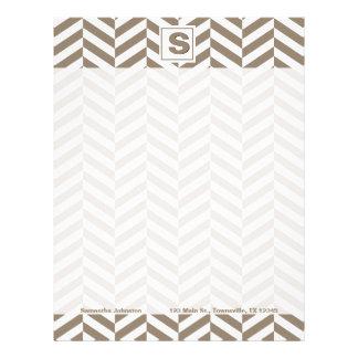 Tan White Herringbone Monogram Letterhead