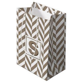 Tan White Herringbone Monogram Medium Gift Bag