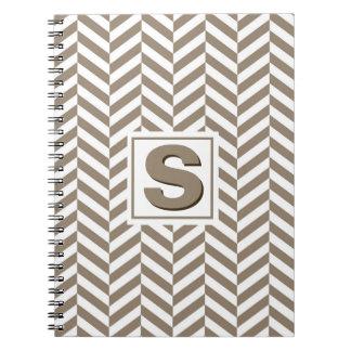 Tan White Herringbone Monogram Notebooks