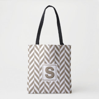 Tan White Herringbone Monogram Tote Bag