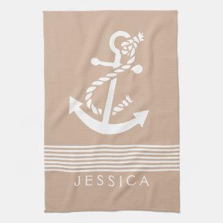 Tan & White Stripes With Nautical Anchor Kitchen Towel