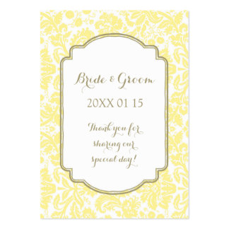 Tan Yellow Damask Wedding Favor Tags Pack Of Chubby Business Cards