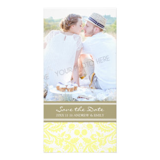 Tan Yellow Save the Date Wedding Photo Cards