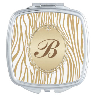 Tan Zebra Print Monogrammed Travel Mirror