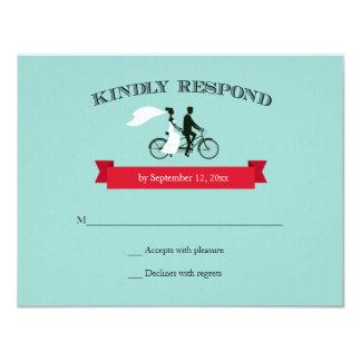 "Tandem Bicycle Aqua Wedding RSVP 4.25"" X 5.5"" Invitation Card"