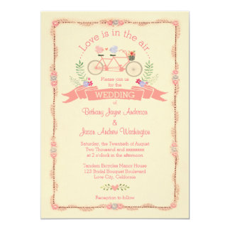 Tandem Bicycle, Birds and Banner Wedding Card