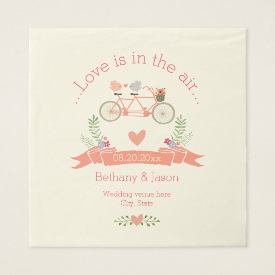 Tandem Bicycle, Birds and Banner Wedding Paper Napkins