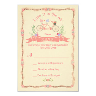 Tandem Bicycle, Birds and Banner Wedding RSVP Card