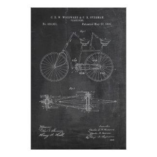 Tandem Bicycle Blueprint Poster