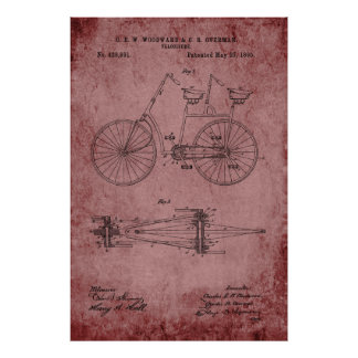 Tandem Bicycle Blueprint Poster