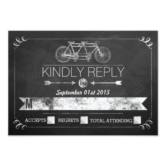 Tandem Bicycle Chalkboard Typography Wedding RSVP Card