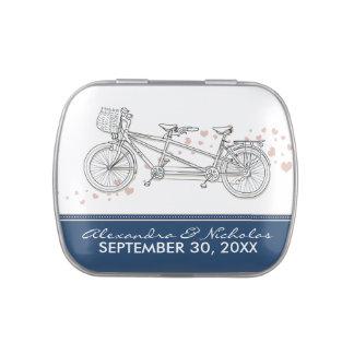 Tandem Bicycle Custom Wedding Favor Tins (navy)