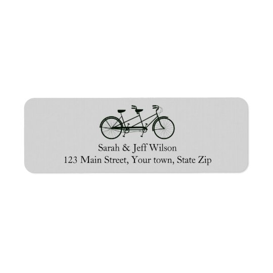 Tandem Bicycle Grey Return Address Labels