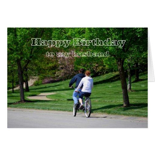 Tandem Bicycle Husband Happy Birthday Card