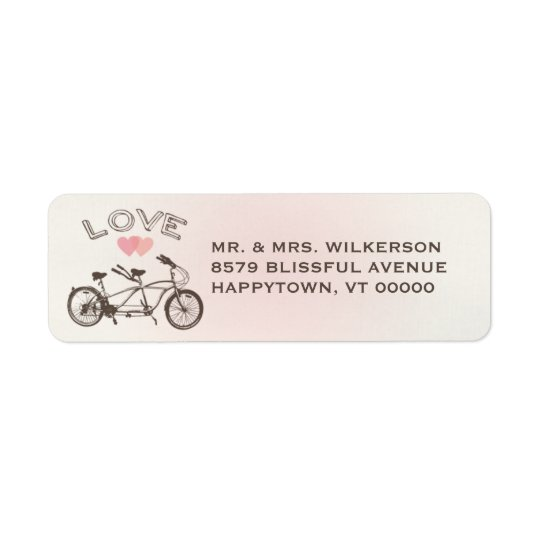 Tandem Bicycle Love Label Return Address Label