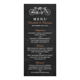 Tandem Bicycle On Chalkboard Wedding Menu