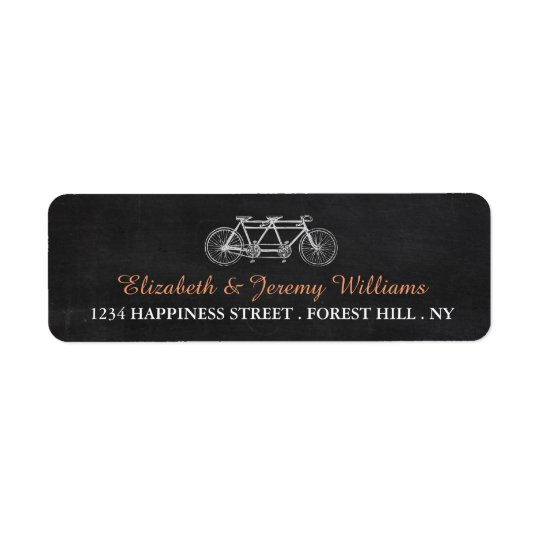 Tandem Bicycle On Chalkboard Wedding Return Address Label