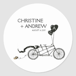 Tandem Bicycle Romantic Casual Wedding Custom Classic Round Sticker
