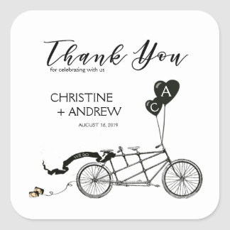 Tandem Bicycle Romantic Casual Wedding Custom Square Sticker
