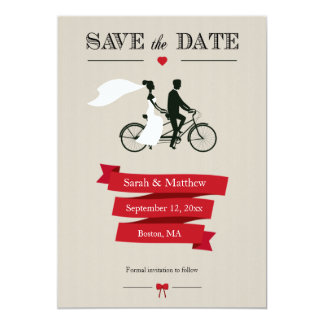 "Tandem Bicycle Save the Date Cards 5"" X 7"" Invitation Card"