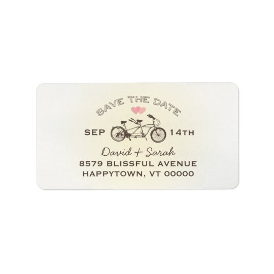 Tandem Bicycle Save The Date  Label