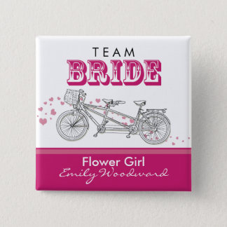 "Tandem Bicycle ""Team Bride"" Bridal Party Button"